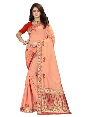 Peach hand woven banarasi silk saree with blouse