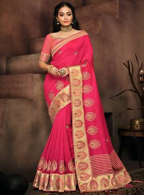 Rani pink embroidered silk saree with blouse