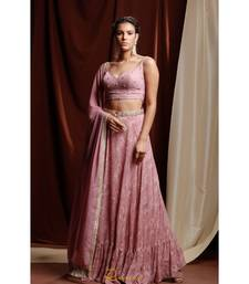 pink embroidered georgette readymade lehenga cholis