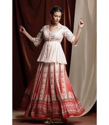 red embroidered silk readymade lehenga cholis