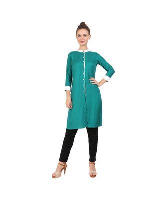 green printed rayon kurti