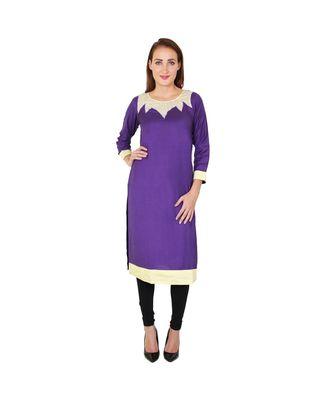 purple printed rayon kurti