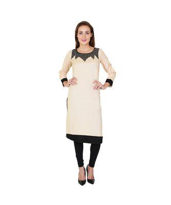 beige printed rayon kurti