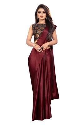 Maroon plain satin saree with blouse