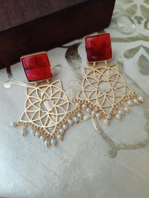 Geometric Gold Plated Red Stone Earrings