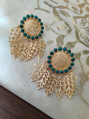 Leafy Gold Plated Torquoise Earrings