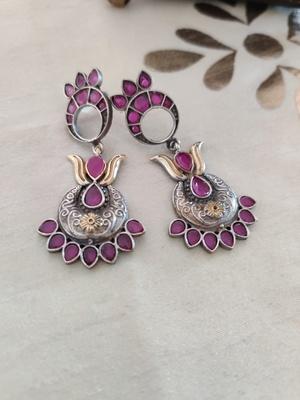 Ruby Pink Antique Earrings