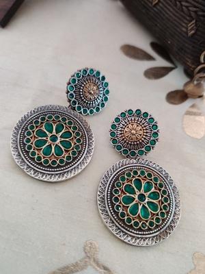 Antique Dual Toned Green Stone Earrings