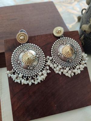 Antique Two toned Pearl Earrrings