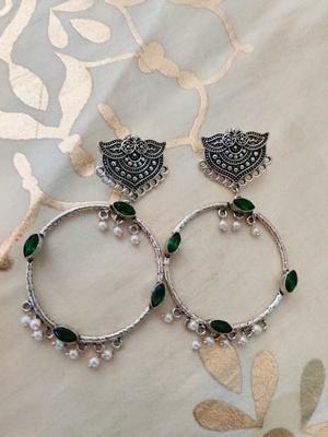 Green Stone Silver Plated Chandbalis
