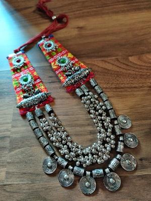 Tribal Women SilverPlated Fabric Jewellery