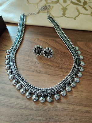 Silver plated Kolhapuri Long Necklace set