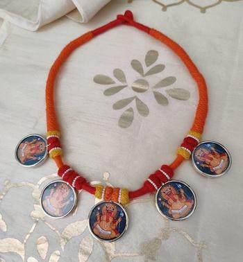 Women TempleJewellery Ganpati Photoframe Pendant Necklace
