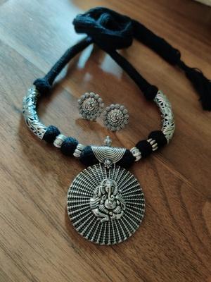 Black Ganpati Necklace set