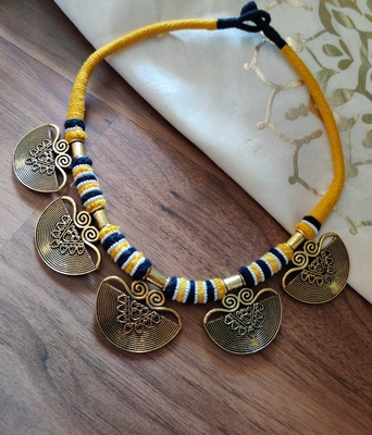 Moon Shaped AntiqueGold Necklace