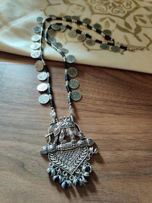 Tribal Elephant Pendant Coin Necklace set