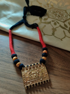 Women Gold Plated Ganpati Square Pendant Necklace