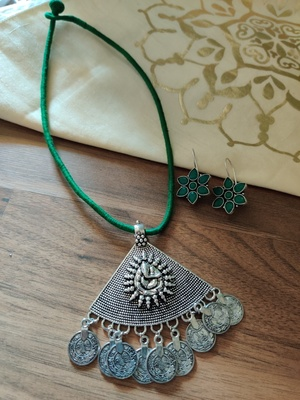 Triangle Green Ganpati Silver Plated String Necklace set