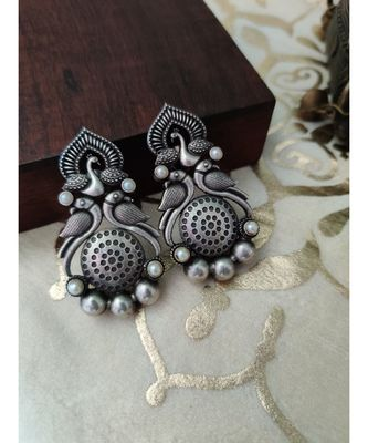 Antique silver Peacock Long Studs