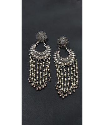 long White Pearl Antique silver Earrings