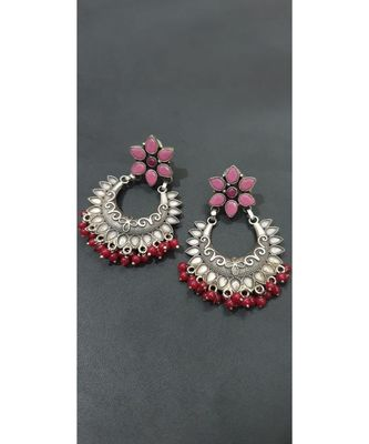 Pink kundan floral dangler with red beads