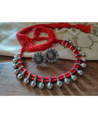 Red String Kolhapuri Necklace set silver plated