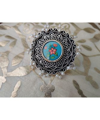 Floral Phtoframe Pearl adjustable ring