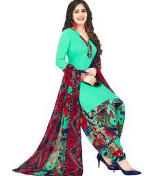 green Synthetic printed soft dress material