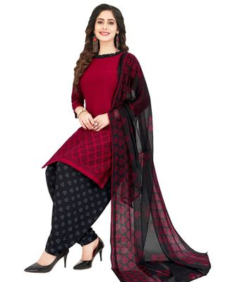 maroon Synthetic printed soft dress material