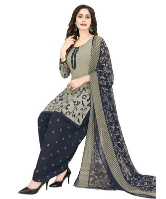 grey Synthetic printed soft dress material