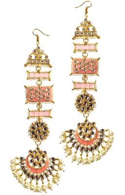 Ethnic Indian Bollywood Peech Pink Meenakari Kundan Pearl Chandbali Earrings Set