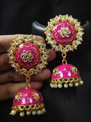Traditional Huge Tops Raani pink Meenakari Jhumki Earrings Set