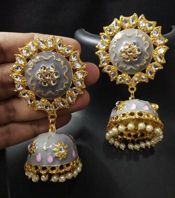 Traditional Huge Tops Grey pink Meenakari Jhumki Earrings Set