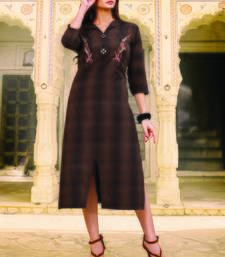 Brown Cotton Short Kurtis