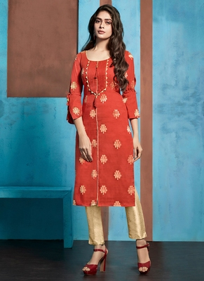Red Jacquard Pakistani Kurtis