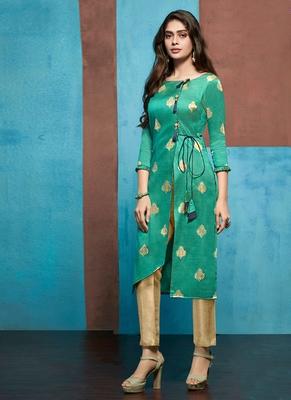 Turquoise Jacquard Pakistani Kurtis