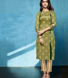 Olive Jacquard Pakistani Kurtis
