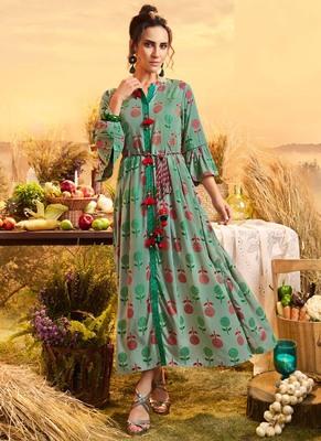 Turquoise Cotton Ethnic Kurtis