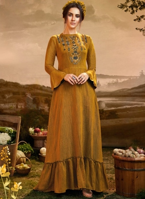Mustard Viscose Pakistani Kurtis