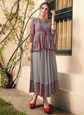 Grey Rayon Long Kurtis