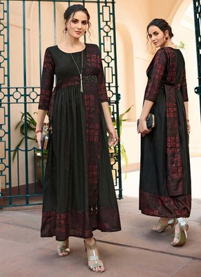 Black Rayon Long Kurtis