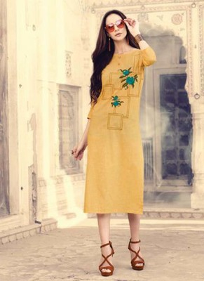 Yellow Cotton Kurtas And Kurtis