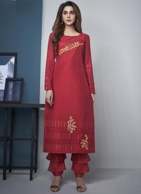 Red Pure Model Silk Embroidery Kurta Palazzo