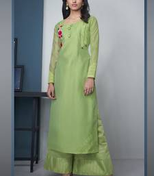 Lime Pure Model Silk Embroidery Kurta Palazzo