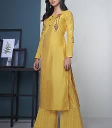 Yellow Pure Model Silk Embroidery Kurta Palazzo
