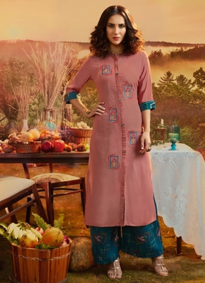 Dark Pink Rayon Kurtas And Kurtis