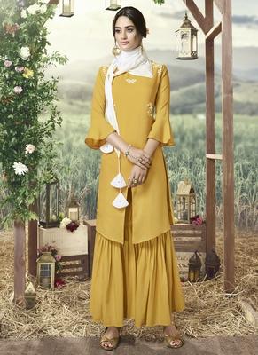 Yellow Silk Blend Kurtas And Kurtis