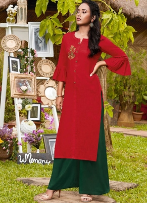 Red Rayon Kurtas And Kurtis