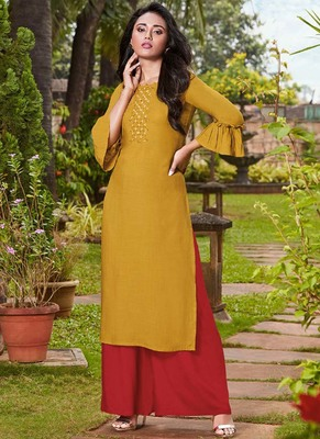 Yellow Rayon Kurtas And Kurtis