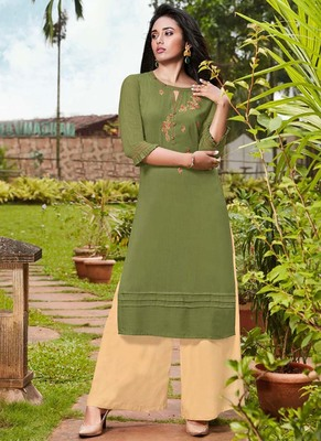Olive Rayon Kurtas And Kurtis